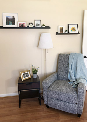 cushioned chair and pictures