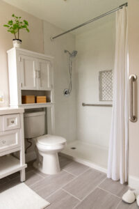 Bathroom with safety bars